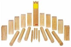 Goki 56731 - Wikingerspiel Kubb, Krone gelb, im Baumwollbeutel