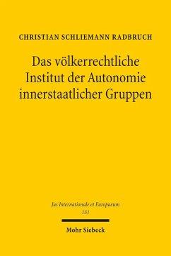 Das völkerrechtliche Institut der Autonomie innerstaatlicher Gruppen (eBook, PDF) - Radbruch, Christian Schliemann