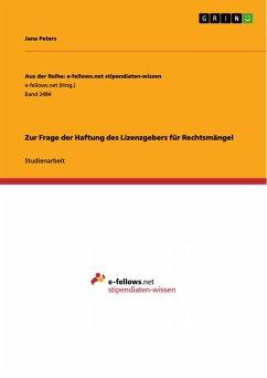 Zur Frage der Haftung des Lizenzgebers für Rechtsmängel (eBook, PDF)