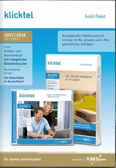 klickTel Gold-Paket 2017/2018 (Telefonbuch/Branchenbuch/Routenplaner)