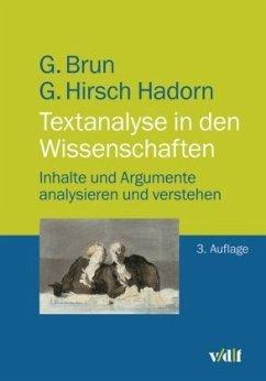 Textanalyse in den Wissenschaften - Brun, Georg; Hirsch Hadorn, Gertrude