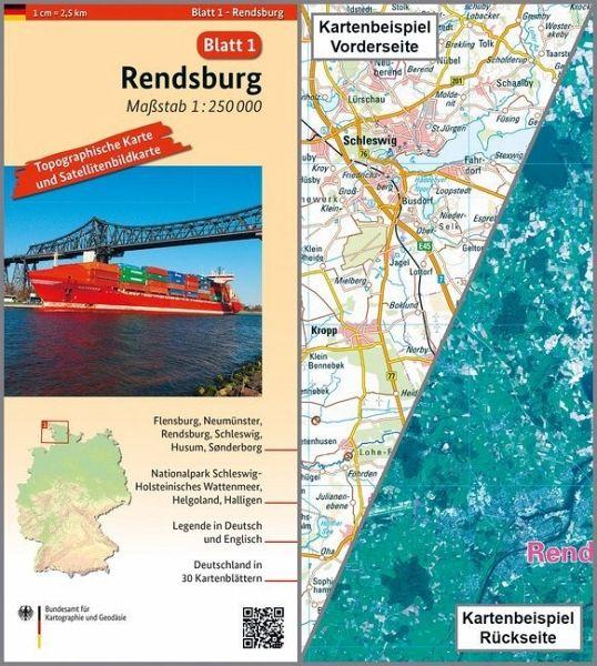 Topographische Karte Und Satellitenbildkarte Rendsburg