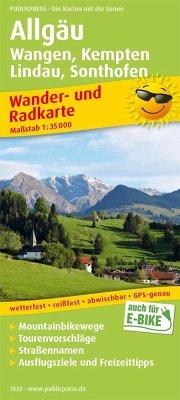 PublicPress Wander- und Radkarte Allgäu, Wangen, Kempten, Lindau, Sonthofen