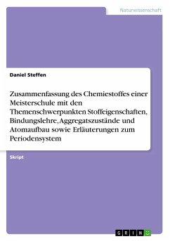 Zusammenfassung des Chemiestoffes einer Meisterschule mit den Themenschwerpunkten Stoffeigenschaften, Bindungslehre, Aggregatszustände und Atomaufbau sowie Erläuterungen zum Periodensystem