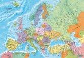 Europa politisch, Poster 1:6 Mio., Metallbestäbt in Rolle, Planokarte