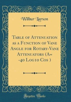 Table of Attenuation as a Function of Vane Angle for Rotary-Vane Attenuators (A= -40 Log10 Cos ¿) (Classic Reprint)
