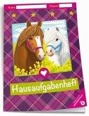 Hausaufgabenheft - Grundschule Pferde mit Umschlag
