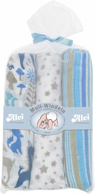 Mull-Windeln-3er Set, Boys, blau