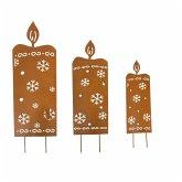 LED-Gartenstecker, 3-tlg. Kerzen
