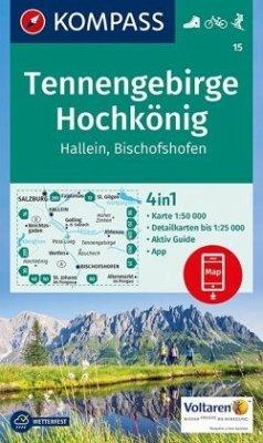 KOMPASS Wanderkarte Tennengebirge, Hochkönig, Hallein, Bischofshofen