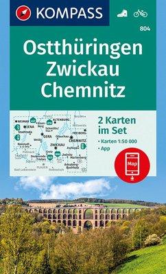 Kompass Karte Ostthüringen, Zwickau, Chemnitz, ...