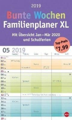 Bunte Wochen FamilienPlaner XL - Kalender 2019