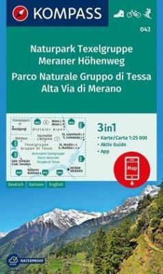 KOMPASS Wanderkarte Naturpark Texelgruppe, Meraner Höhenweg, Parco Naturale Gruppo di Tessa, Alta Via di Merano