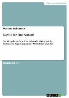 Rechte für Embryonen? (eBook, ePUB)