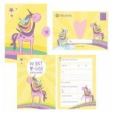 12 Einladungskarten Geburtstag Einhorn (Mädchen). Handgemachte Einladungskarten Kindergeburtstag inkl. 12 liebevollen Hand designten Briefumschlägen.