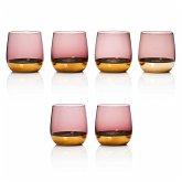 Wasserglas-Set, 6-tlg Noble Rosa/Goldfarben