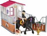 Schleich 42437 - Horse Club, Pferdebox mit Tori & Princess, Spielset