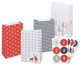 Folia Adventskalender-Set STYLE, aus 24 lebensmittel echten Tüten, Satinband, Sticker