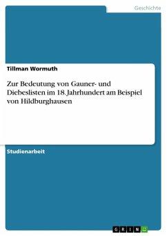 Zur Bedeutung von Gauner- und Diebeslisten im 18. Jahrhundert am Beispiel von Hildburghausen (eBook, ePUB)