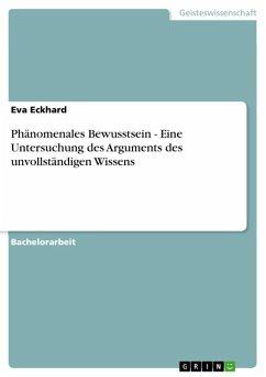 Phänomenales Bewusstsein - Eine Untersuchung des Arguments des unvollständigen Wissens (eBook, ePUB)