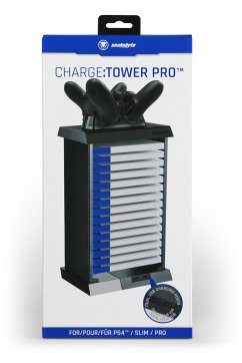 snakebyte CHARGE:TOWER PRO, Games Mini-Regal für PS4-Spiele & Blu ray´s, inkl. 2-fach Ladeschale, 2 Akkus á 600mAh & Netzteil
