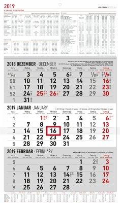 3-Monatskalender 2019 groß