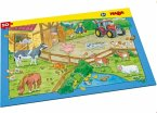 HABA 303644 - Rahmenpuzzle, Bauernhof, Kinderpuzzle, 10 Teile