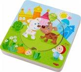 HABA 303536 - Holzpuzzle, Kunterbunte Tierkinder, Schichtpuzzle, Kinderpuzzle, 5 Teile
