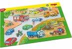 HABA 303642 - Rahmenpuzzle, Fahrzeuge, Kinderpuzzle, 10 Teile