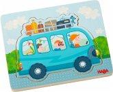 HABA 303679 - Holzpuzzle, Fahrspaß, Fahrzeuge, Schichtpuzzle, Kinderpuzzle, 4 Teile