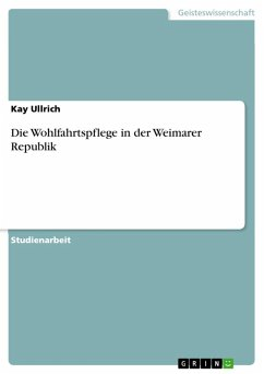 Die Wohlfahrtspflege in der Weimarer Republik (eBook, ePUB)