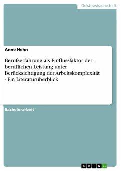 Berufserfahrung als Einflussfaktor der beruflichen Leistung unter Berücksichtigung der Arbeitskomplexität - Ein Literaturüberblick (eBook, ePUB)