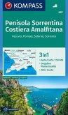 KOMPASS Wanderkarte Penisola Sorrentina, Costiera Amalfitana, Vesuvio, Pompei, Salerno, Sorrento