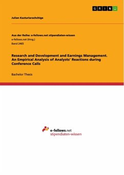 Research and Development and Earnings Management. An Empirical Analysis of Analysts' Reactions during Conference Calls (eBook, ePUB)