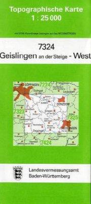 Topographische Karte Baden-Württemberg Geislingen an der Steige, West