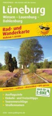 PublicPress Rad- und Wanderkarte Lüneburg, Winsen - Lauenburg - Dahlenburg