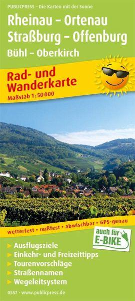 PublicPress Rad- und Wanderkarte Rheinau - Ortenau - Straßburg - Offenburg