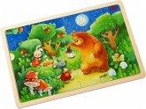 HABA 303645 - Holzpuzzle, Nachtwächterbär, Kinderpuzzle, 24 Teile