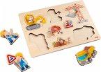 HABA 303697 - Greifpuzzle, Baustellen-Welt, Holzpuzzle, Kinderpuzzle, 8 Teile