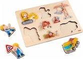 HABA 303697 - Baustellen-Welt, Greifpuzzle, Holzpuzzle 8 Teile