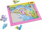 HABA 303706 - Rahmenpuzzle, Einhorn Glitzerglück, Kinderpuzzle, 25 Teile