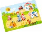 HABA 303769 - Greifpuzzle, Auf dem Bauernhof, Holzpuzzle, Kinderpuzzle, 8 Teile