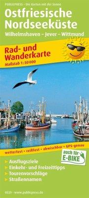 PublicPress Rad- und Wanderkarte Ostfriesische Nordseeküste, Wilhelmshaven - Jever - Wittmund