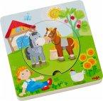 HABA 303768 - Holzpuzzle, Bauernhof-Welt, Schichtpuzzle, Kinderpuzzle, 5 Teile