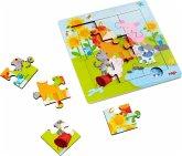 HABA 303767 - Holzrahmen-Puzzle, Tierfreunde, Kinderpuzzle, 9 Teile