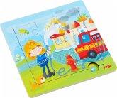 HABA 303770 - Holzrahmen-Puzzle, Feuerwehr, Kinderpuzzle, 9 Teile