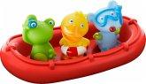 HABA 303866 - Badeboot Tiermatrosen ahoi! Boot mit Frosch, Ente und Maus, 4-teilig