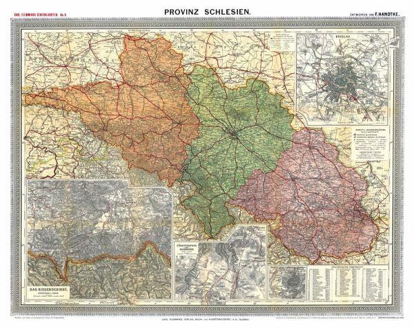 Schlesien Karte Deutsche Ortsnamen.Historische Karte Provinz Schlesien Im Deutschen Reich Um 1910 Gerollt