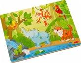 HABA 303181 - Sound-Greifpuzzle, Im Dschungel, Holzpuzzle mit Tierstimmen, Kinderpuzzle, 6 Teile
