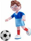 HABA 303888 - Little Friends, Adrian, Biegepuppe mit Fußball, Minipuppe, 9,5cm
